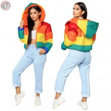 best design rainbow color block hooded winter down coat Womens Fashion Clothing