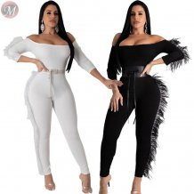 best seller off the shoulder long sleeve solid color feather Wholesale Women One Piece Jumpsuits