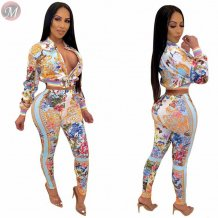 hot casual long sleeve o neck positioning printing streetwear High Fashion Two Piece Set Women Clothing Sexy