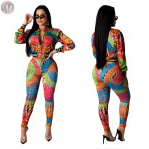 wholesale sexy long sleeve zipper positioning printing Two Piece Set Women Clothing