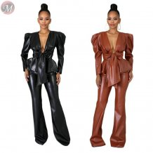 stylish long sleeve V neck bandage PU Leather trouser suit Winter Clothes Women Two Piece Set
