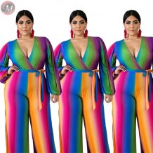 new sexy deep v neck long sleeve color stripe large size with belt Women Clothing Plus Size jumpsuit
