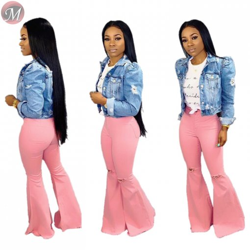 9061712  wholesale hot sale streetwear woman pink washed ripped high waist flare jeans