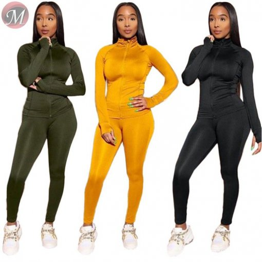 9080512 queenmoen wholesale fashion new fall long sleeve pencil pants two piece set woman clothing