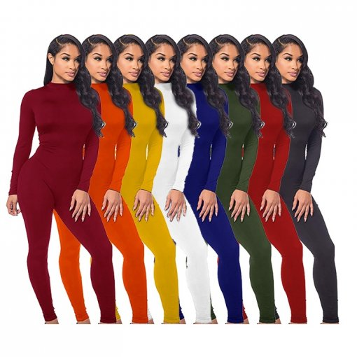 new arrival solid long sleeve solid color plain back zipper slimming one piece bodycon women jumpsuits rompers