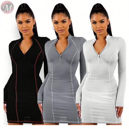 hot sell side stripe zipper solid slim bodycon mini Ladies Casual Dresses Women