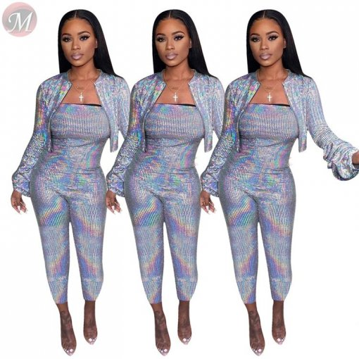 hot selling sexy night club hot Stamping short jacket and bodycon jumpsuit Winter Clothes Women Pant Sets