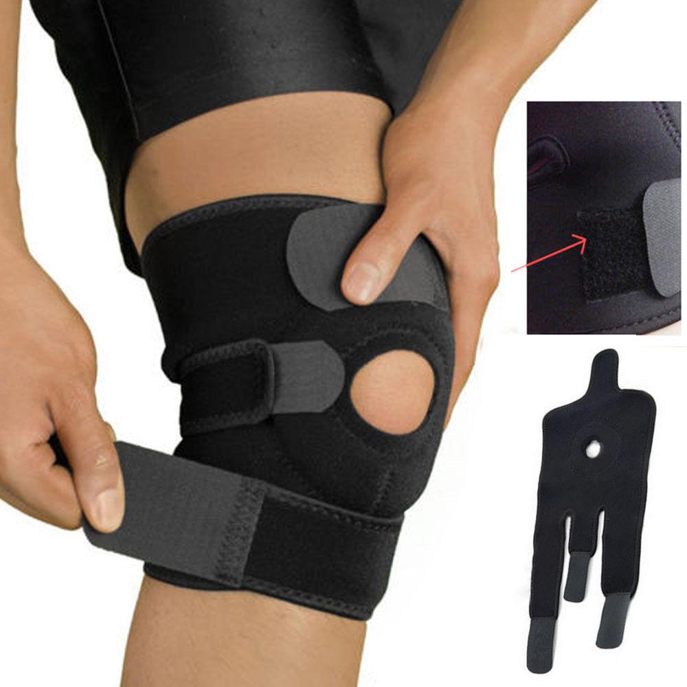 Sports Knee Support Brace Adjustable Strap Elastic Patella Neopren Outdoor Black