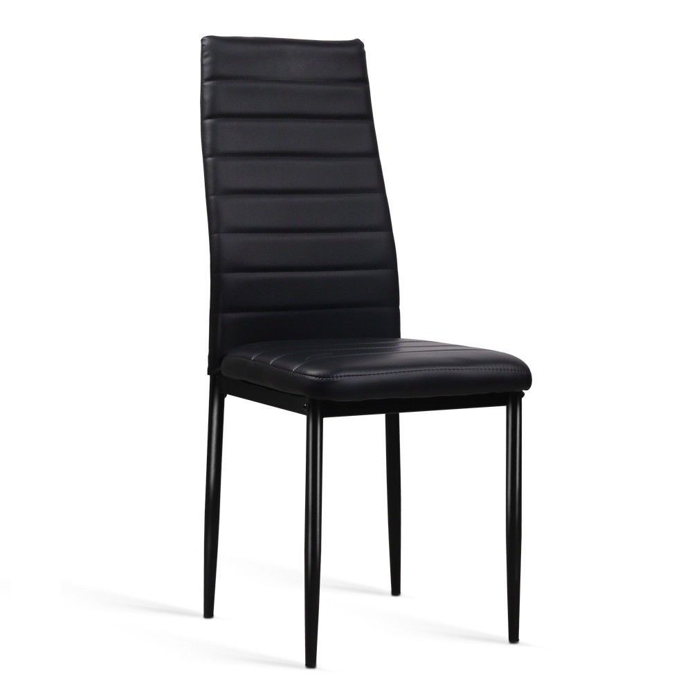 Black Dining Chairs Comfortable Backrest Leather Dining Room Furniture