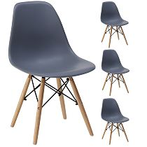 Dsw Eames chair gray plastic modern dining chair wooden legs