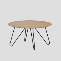 coffee table round wooden top metal base