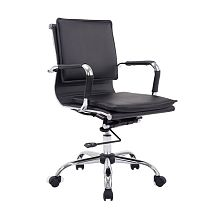 PU Leather Mid Back Executive Office Chair - Black