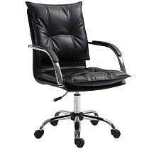 Upholstered Office Chair with Adjustable Height in Black PU Leather