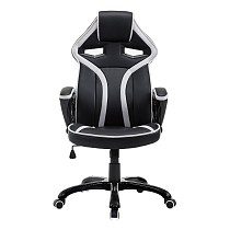 Gaming Arm chair Height Adjustable in Faux Leather, Black and White
