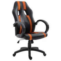 Ergonomic Padded Gaming Chair with Adjustable Height Black Orange