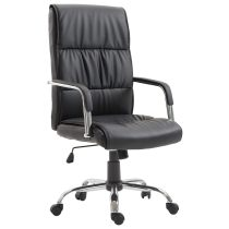 Office chair high back black leather