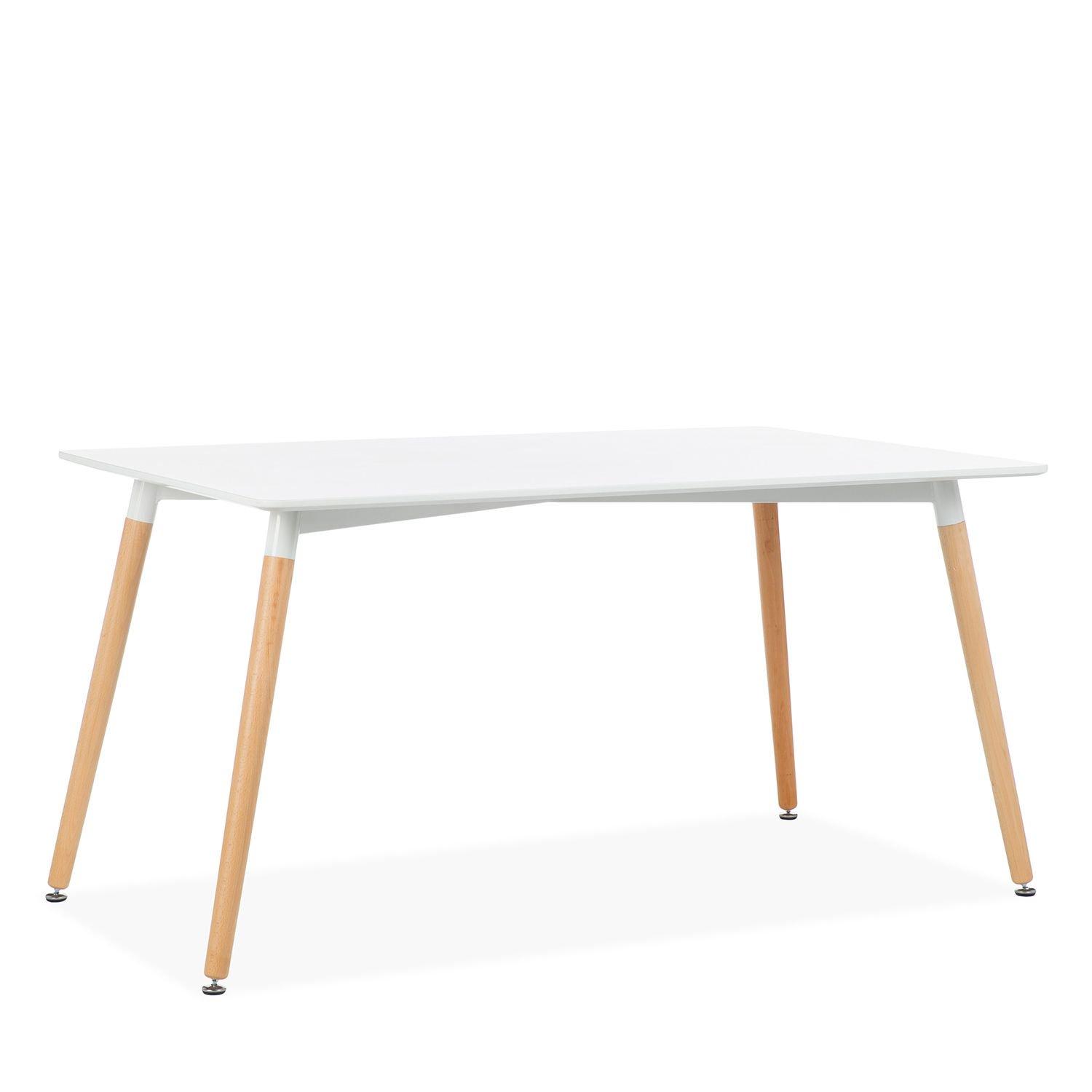 Simple design MDF dining table with solid wood legs
