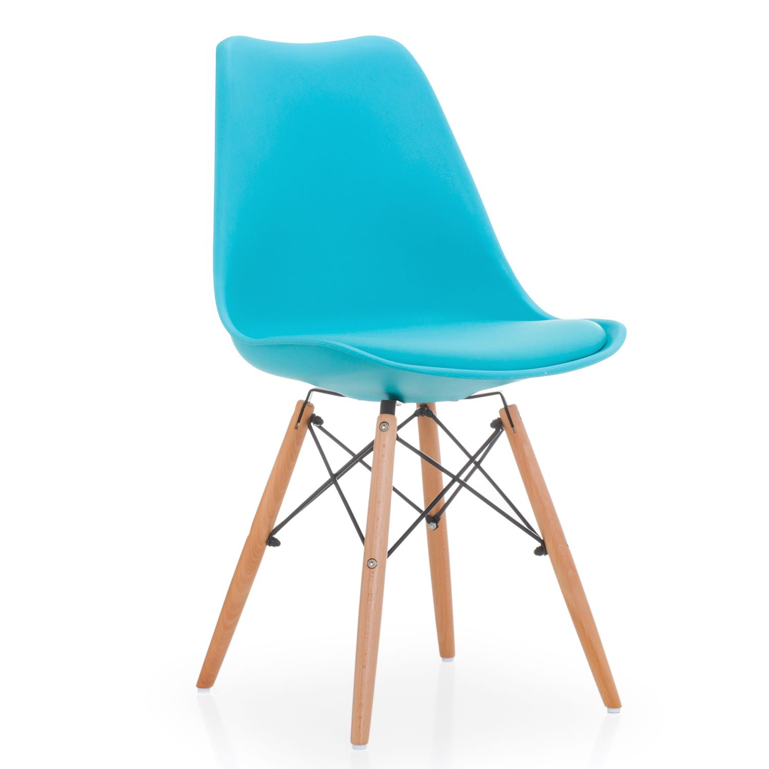dining chair plastic leather cushion light blue wooden legs