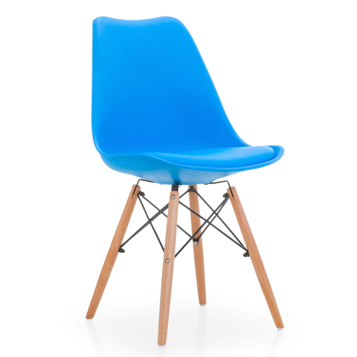 dining chair plastic leather cushion bright blue wooden legs