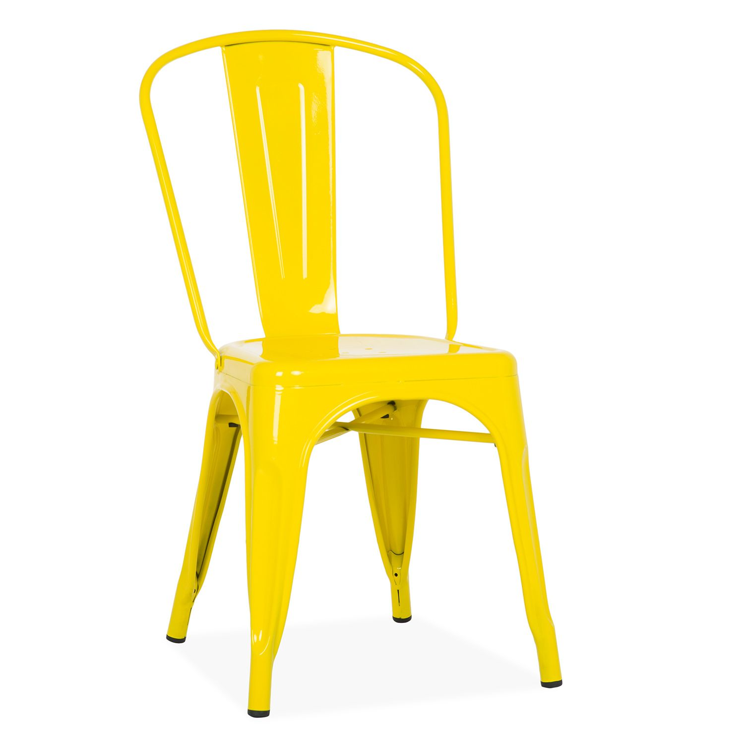 Tolix metal dining chair yellow