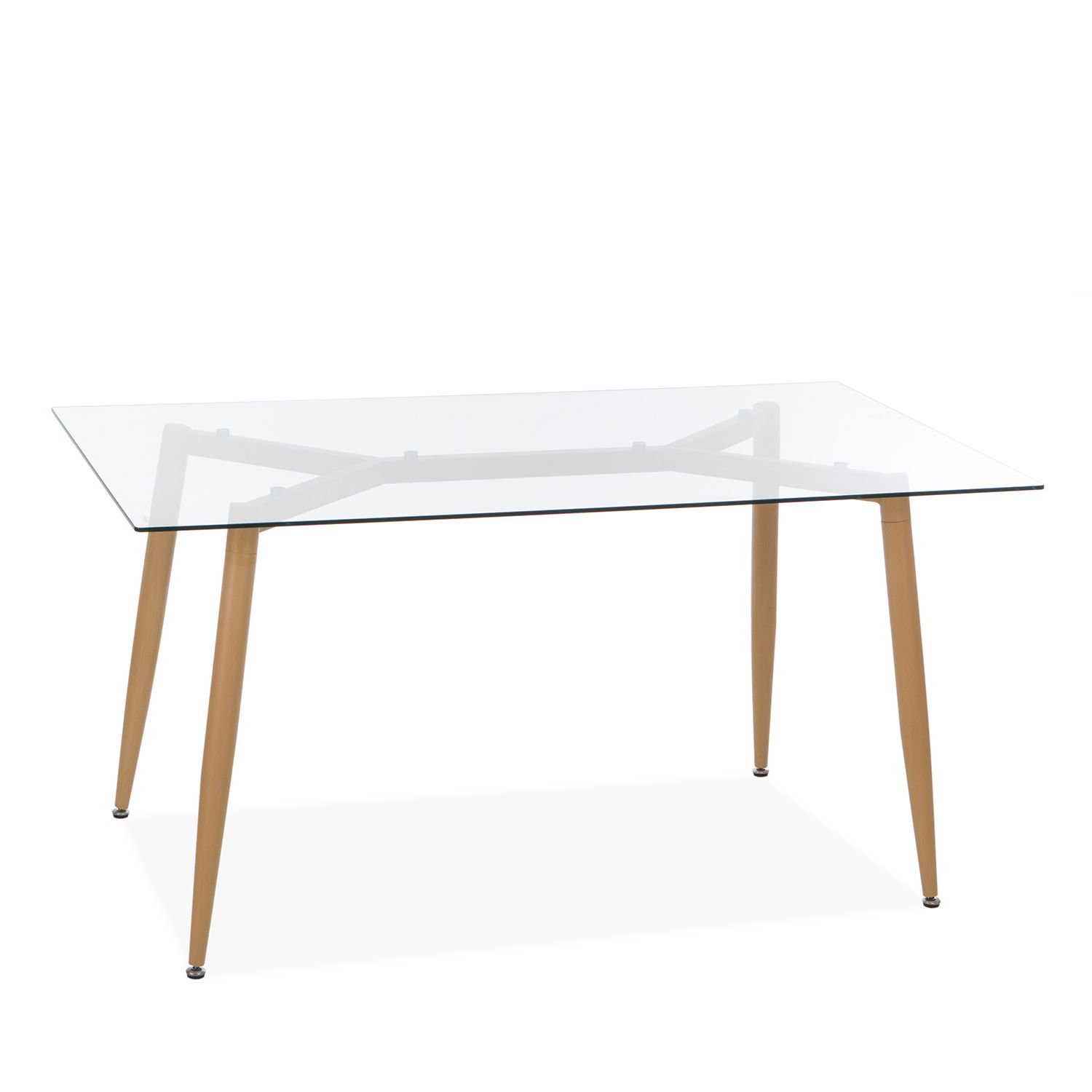 dining table glass top metal legs clear
