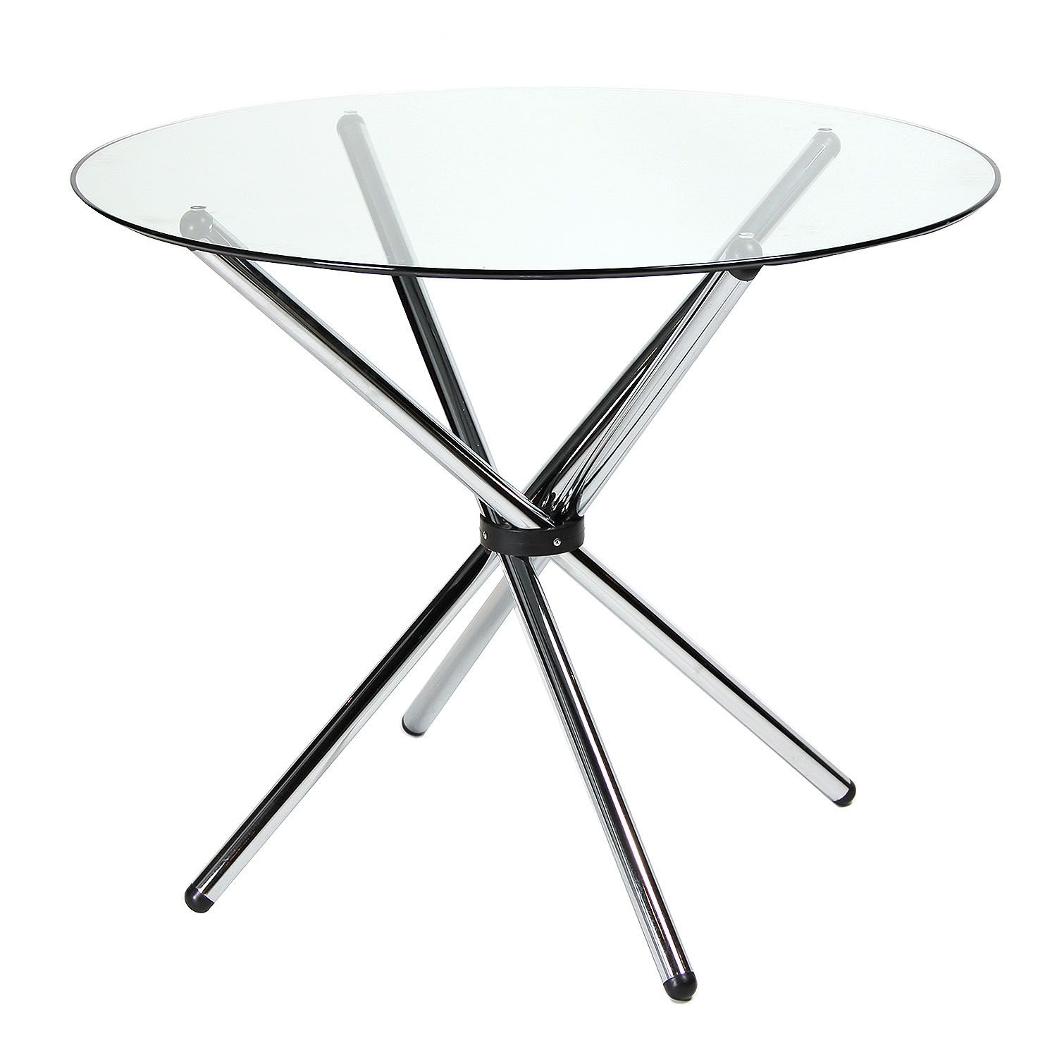 dining table glass round metal legs
