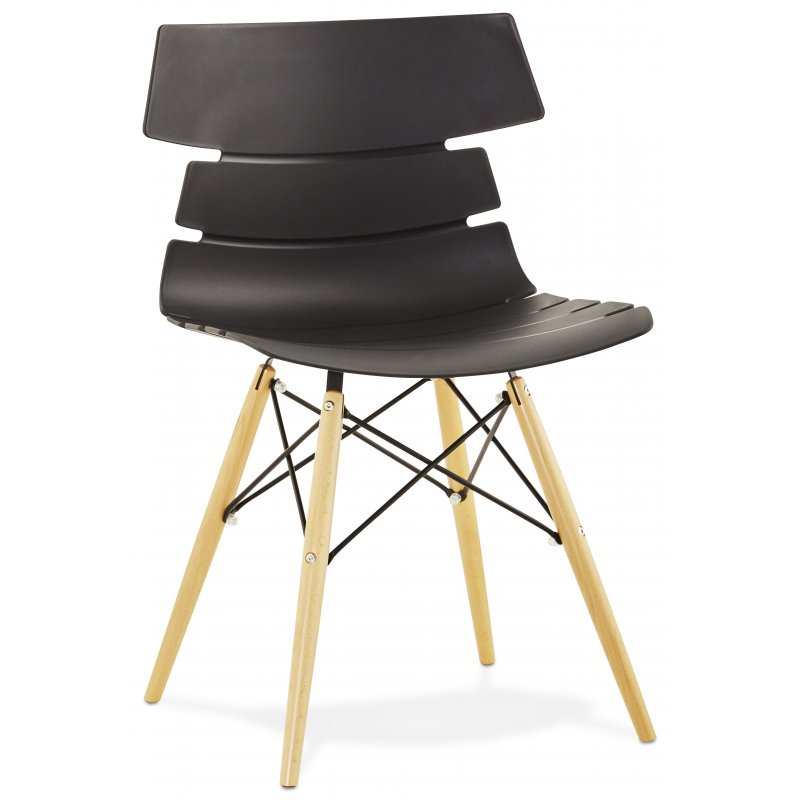 scandinavian plastic dining chair wood legs black