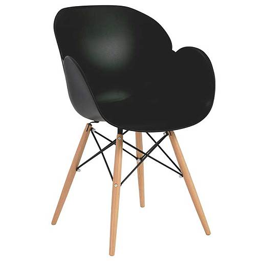Rose dining chair plastic wooden legs black