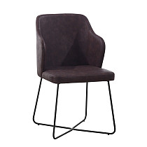 dining chairs leather high back cross metal base