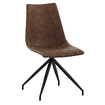 dining chairs leather dark brown metal legs