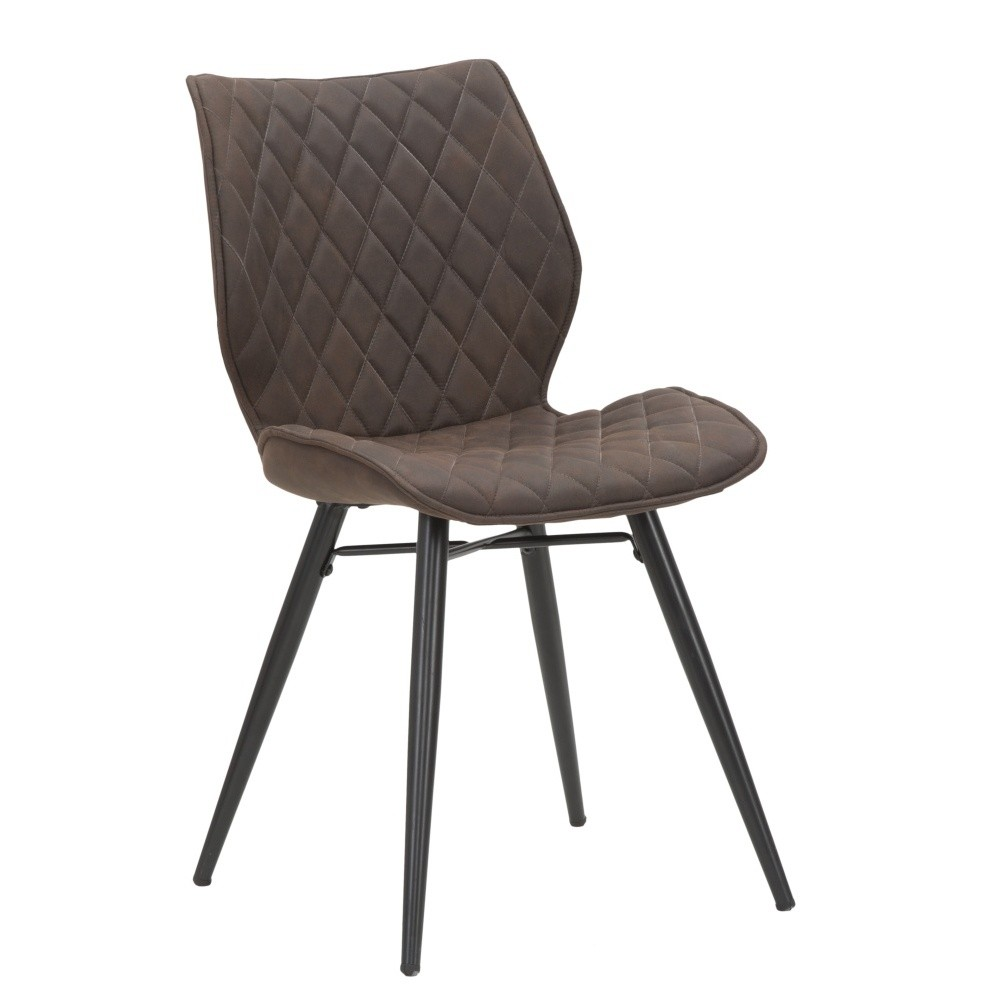 dining chairs leather brown contemporary design metal legs
