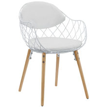 BASKET DINING METAL ARMCHAIR IN WHITE