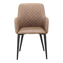 Dining chairs high back brown leather armrest