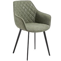 Faux Leather Dining Chair Dark Green