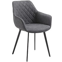 Faux Leather Dining Chair Dark Gray