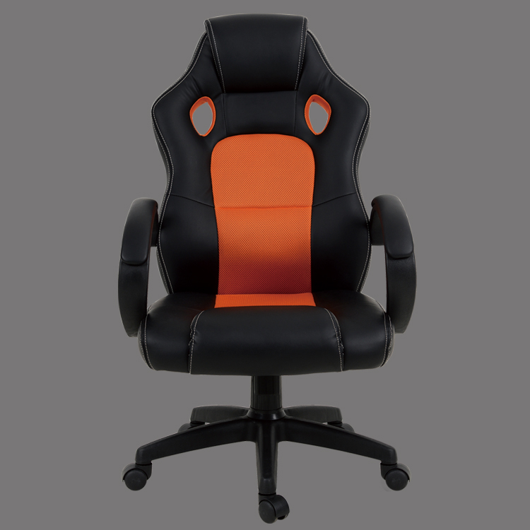 racing office chair leather fabric black and orange