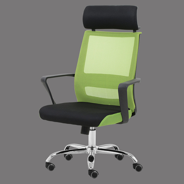 High back mesh office chair with headrest green