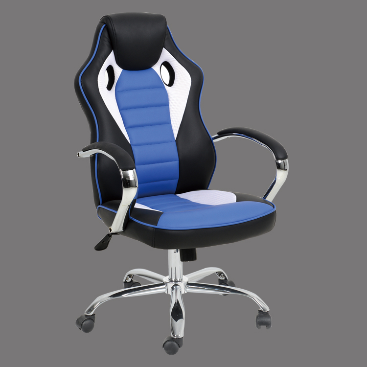 leather office chair high back blue racing style