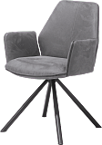 dining chairs armchair gray leather metal legs contemporary