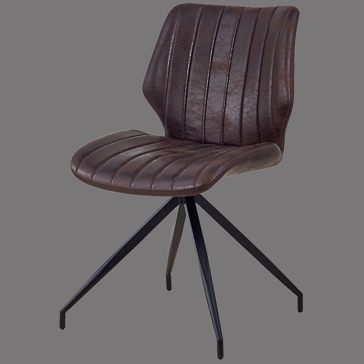 vintage leather dining side chair metal legs