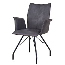 china furniture new design dining side armchair leather gray