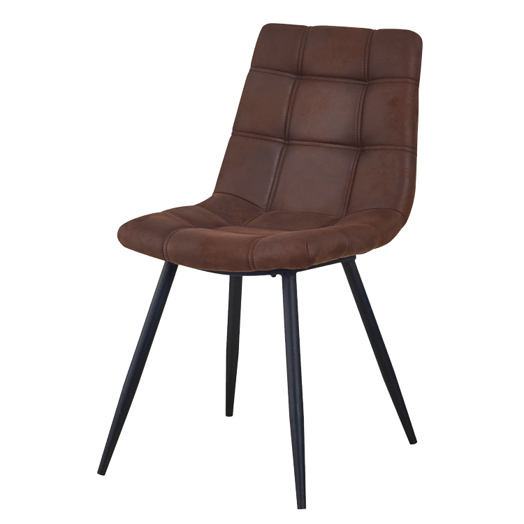 dining cafe chair leather brown metal legs hot sale made in china