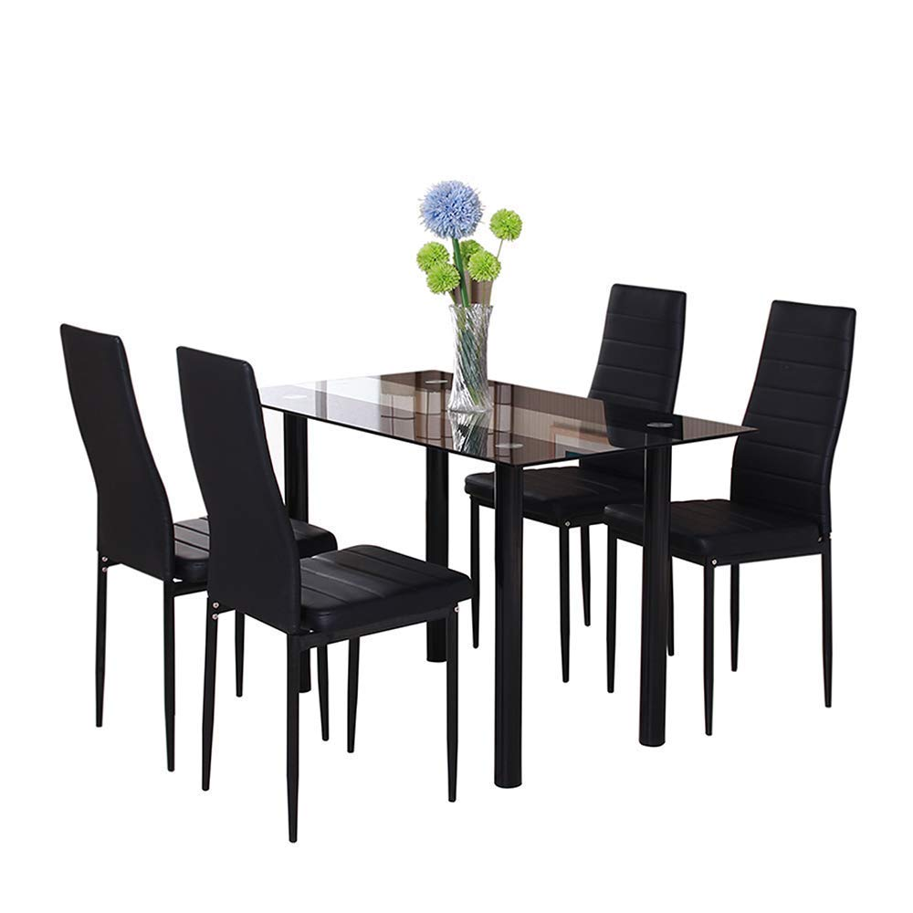 Black Glass Dining Room Chairs Table Set 4 Faux Leather Chairs for Kitchen Furniture