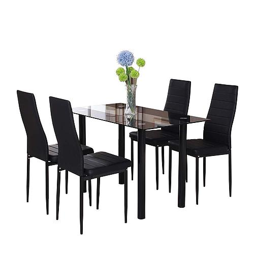 Us 66 00 Black Glass Dining Room Chairs Table Set 4 Faux Leather Chairs For Kitchen Furniture M Chinafurniture Net