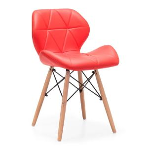 Eiffel Style Dining Wooden Chairs Wood Legs Comfortable Padded Seat Home Office Design Chair Dining chair Red