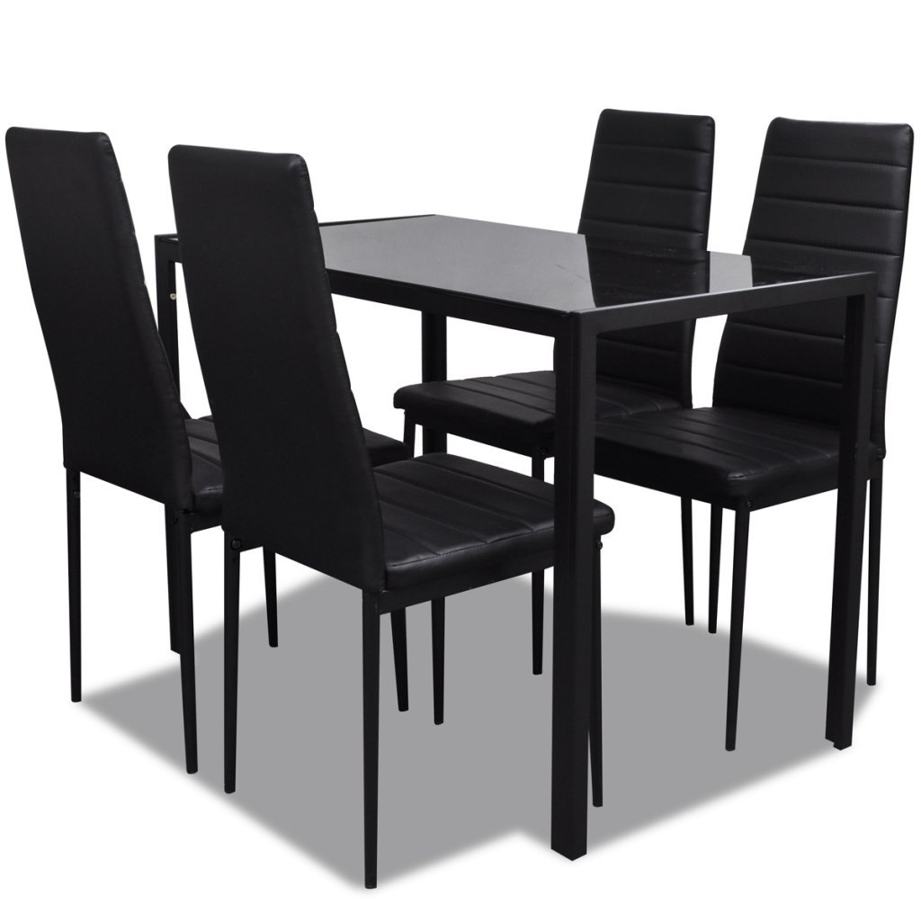 Contemporary Dining Set with Table and 4 Chairs Black Kitchen Furniture