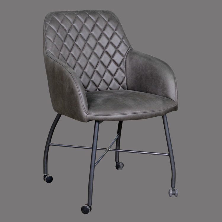 Dining chair armchair dark gray comfortable affordable with wheels