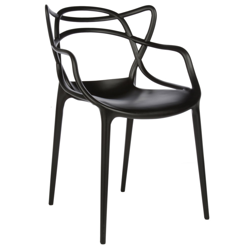 Master plastic stacking dining chair with armrest black