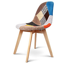 Retro Beech Fabric Dining Chair - Multi Colour