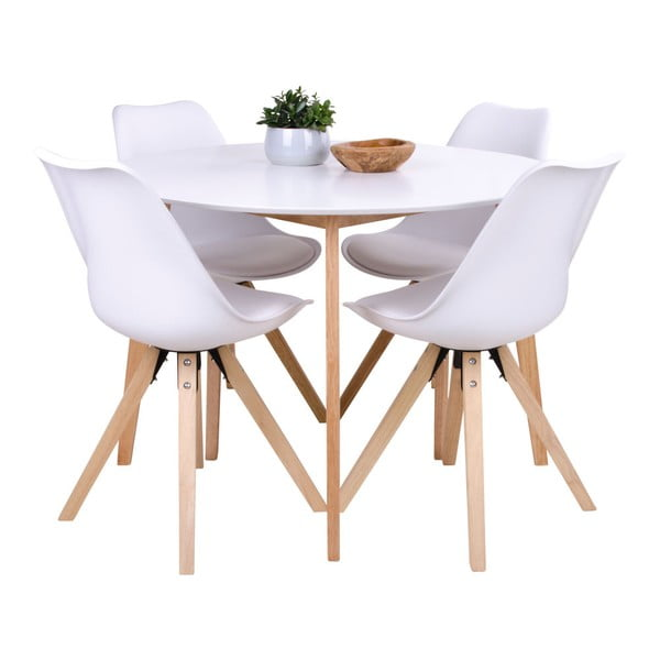 Dining table with round white top